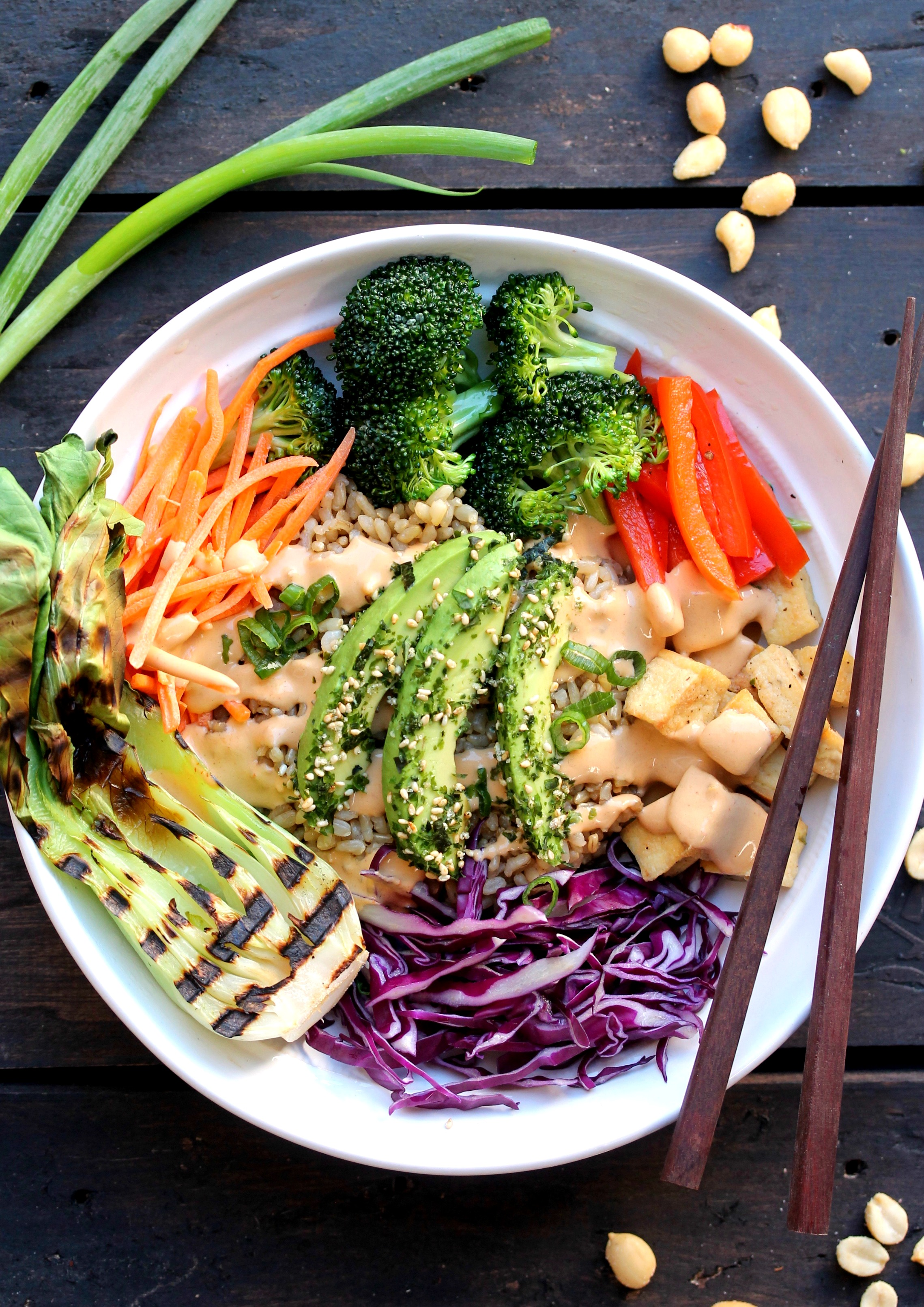 Asian Inspired Buddha Bowl With Spicy Peanut Sauce Vegan