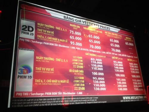 Saigon prices - movie