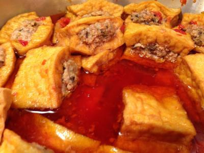 Pork-Stuffed Tofu with Tomatoes