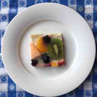 A slice of fruit pizza