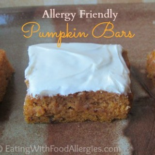 allergy friendly pumpkin bars