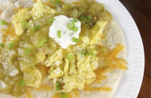 green chili enchiladas with eggs