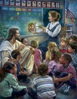 Jesus surrounded by children in school