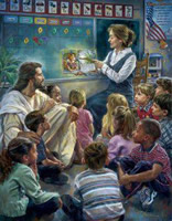 Jesus surrounded by children in school