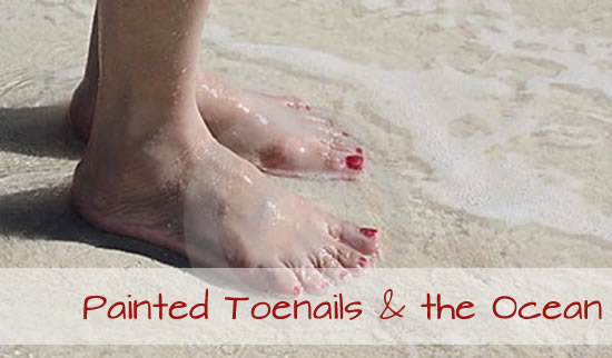 Painted toenails and the beach