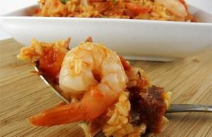jambalaya with ham and shrimp