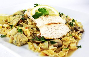 Chicken with lemon artichoke sauce
