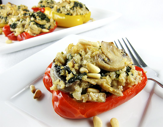 spinach and bulgur wheat stuffed peppers