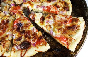 Ranch Chicken Pizza with Bacon and Tomatoes. So delicious and easy!