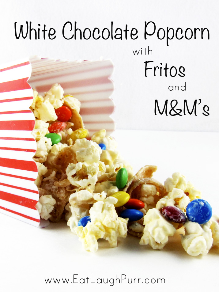 White Chocolate Popcorn with Fritos and M&Ms | www.EatLaughPurr.com #Popcorn #Fritos #M&Ms