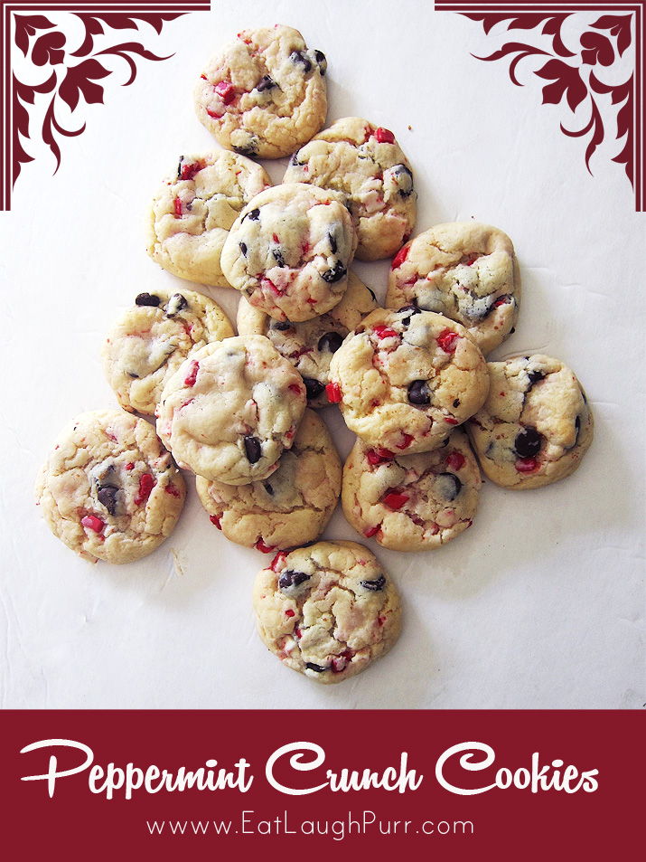 Peppermint Crunch Cookies | www.EatLaughPurr.com #HolidayCookies #HolidayBaking #Peppermint #Cookies