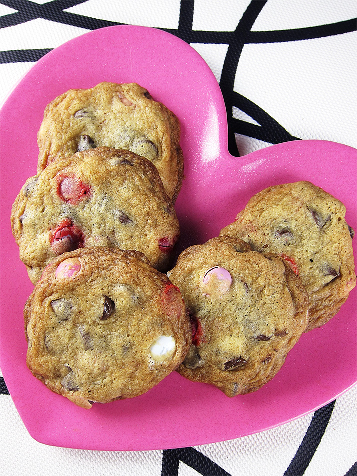Supreme Chocolate Chip Cookies - these crispy, yet chewy cookies are loaded with chocolate chips and M&Ms. A delicious treat your family will love this Valentine's Day or any day.