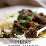 Indian Beef Curry with Rice in white dish