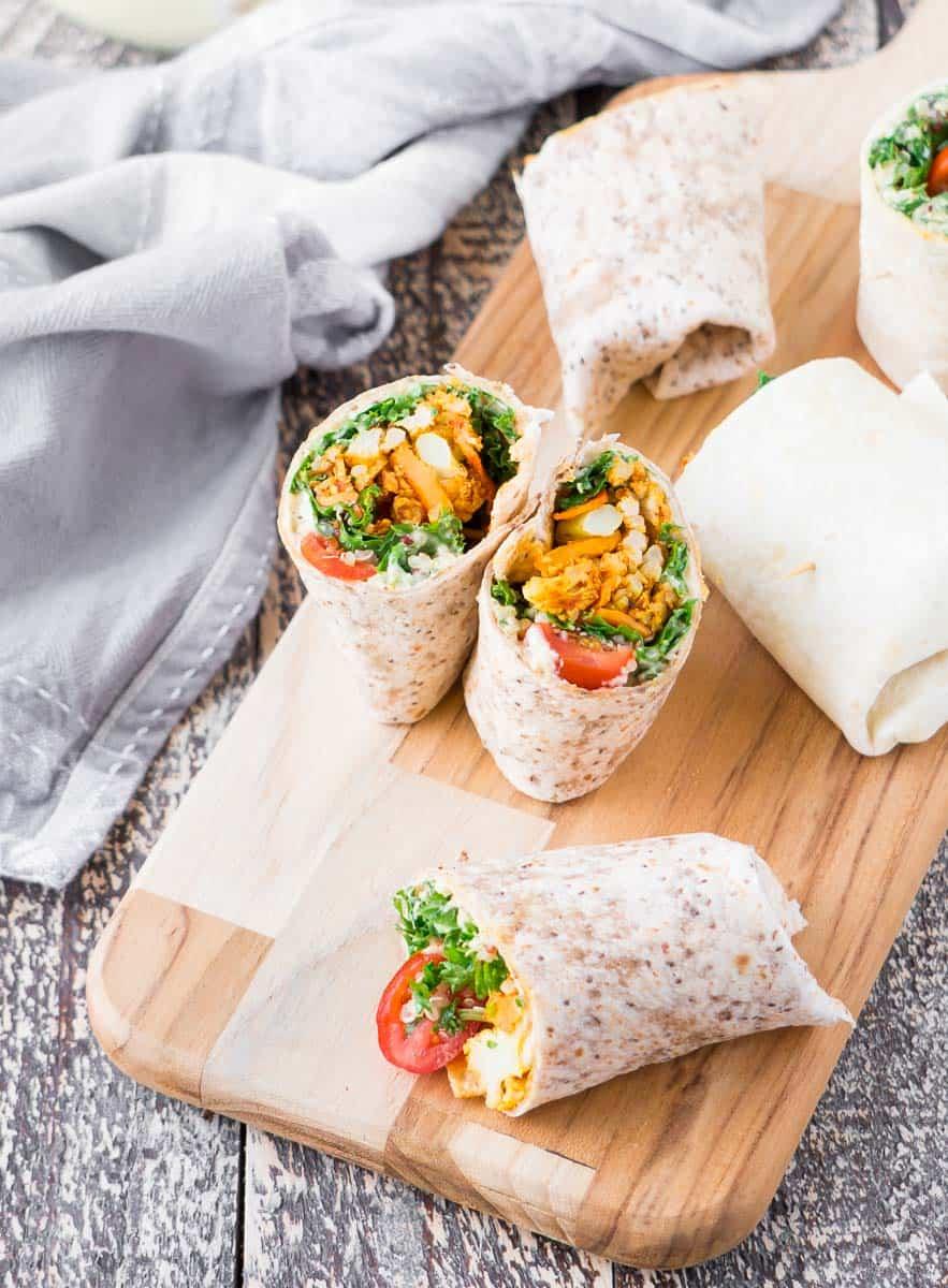 Roasted Sweet Potato and Cauliflower Hummus Wraps