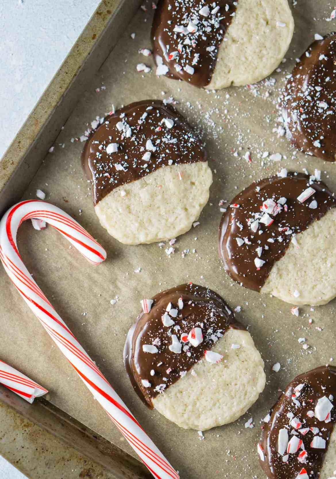 Vegan Candy Cane Shortbread Cookies