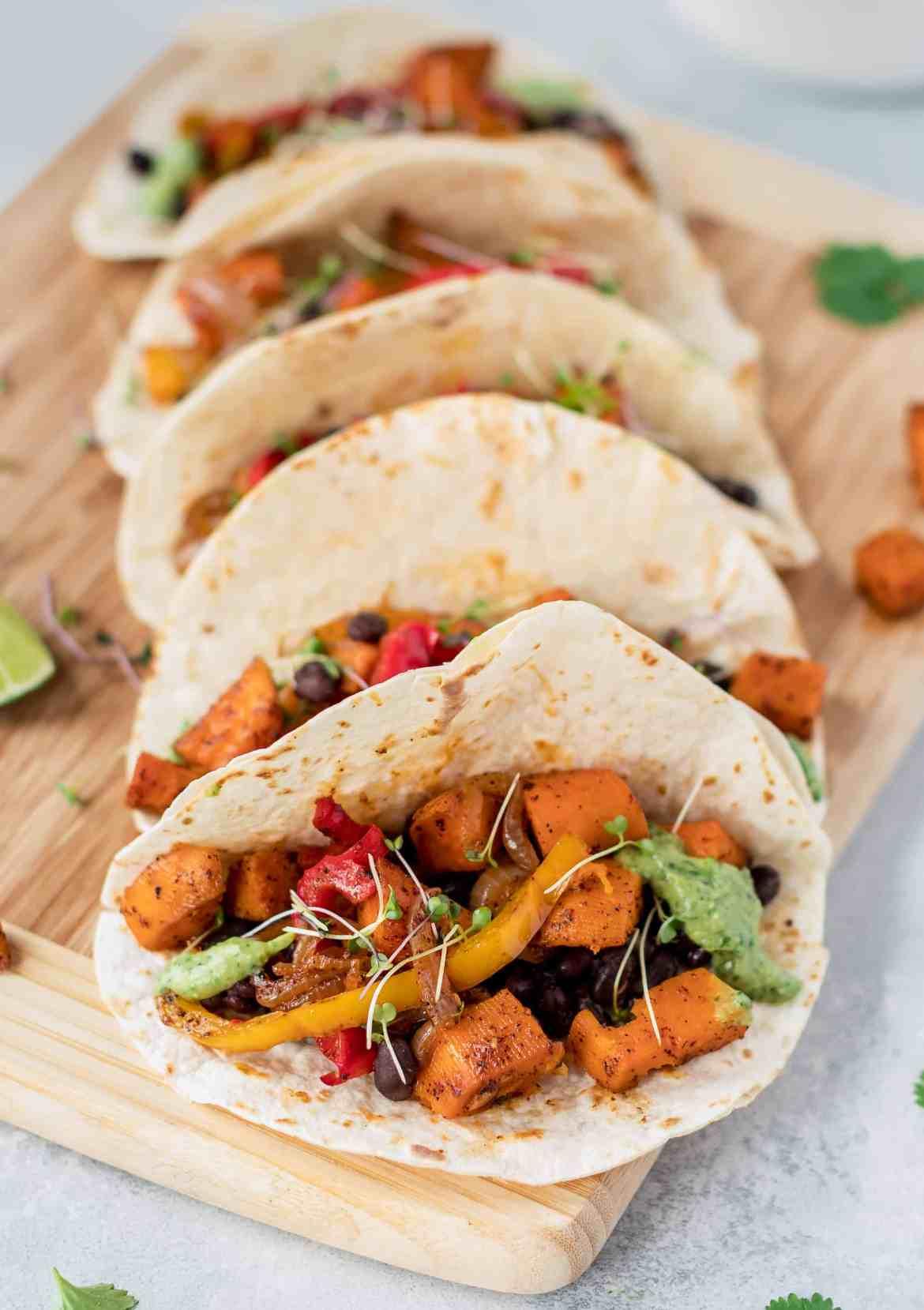 Roasted Sweet Potato & Black Bean Tacos with Avocado Cream
