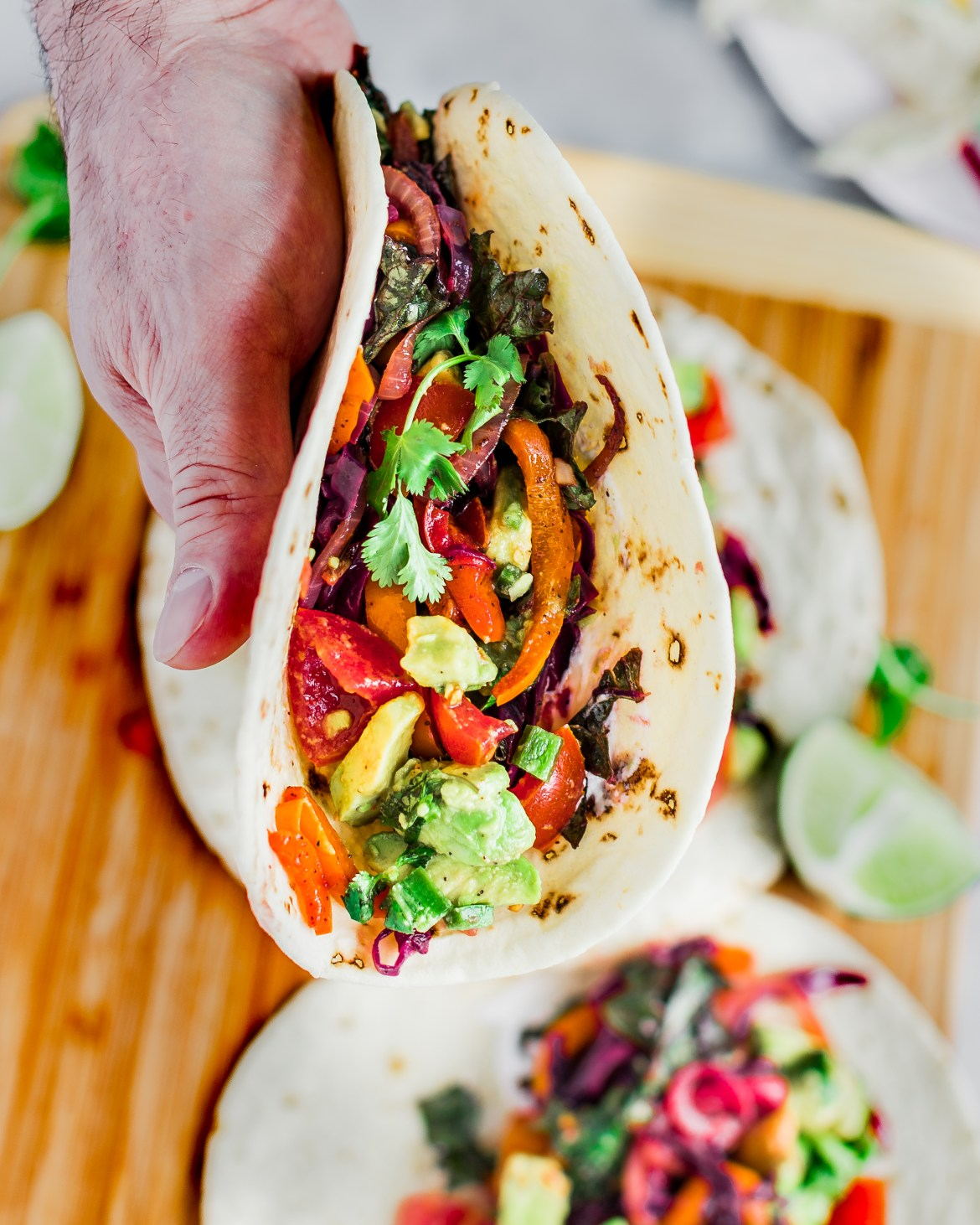 A veggie taco