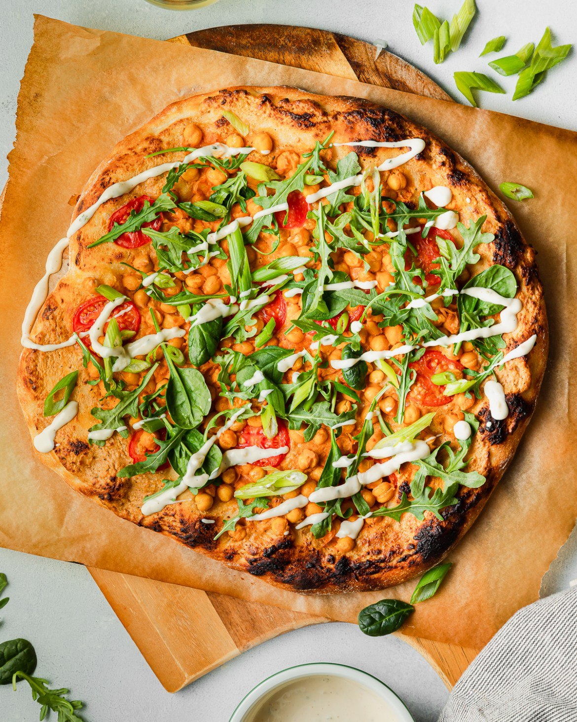 Buffalo Chickpea Pizza with ranch dressing