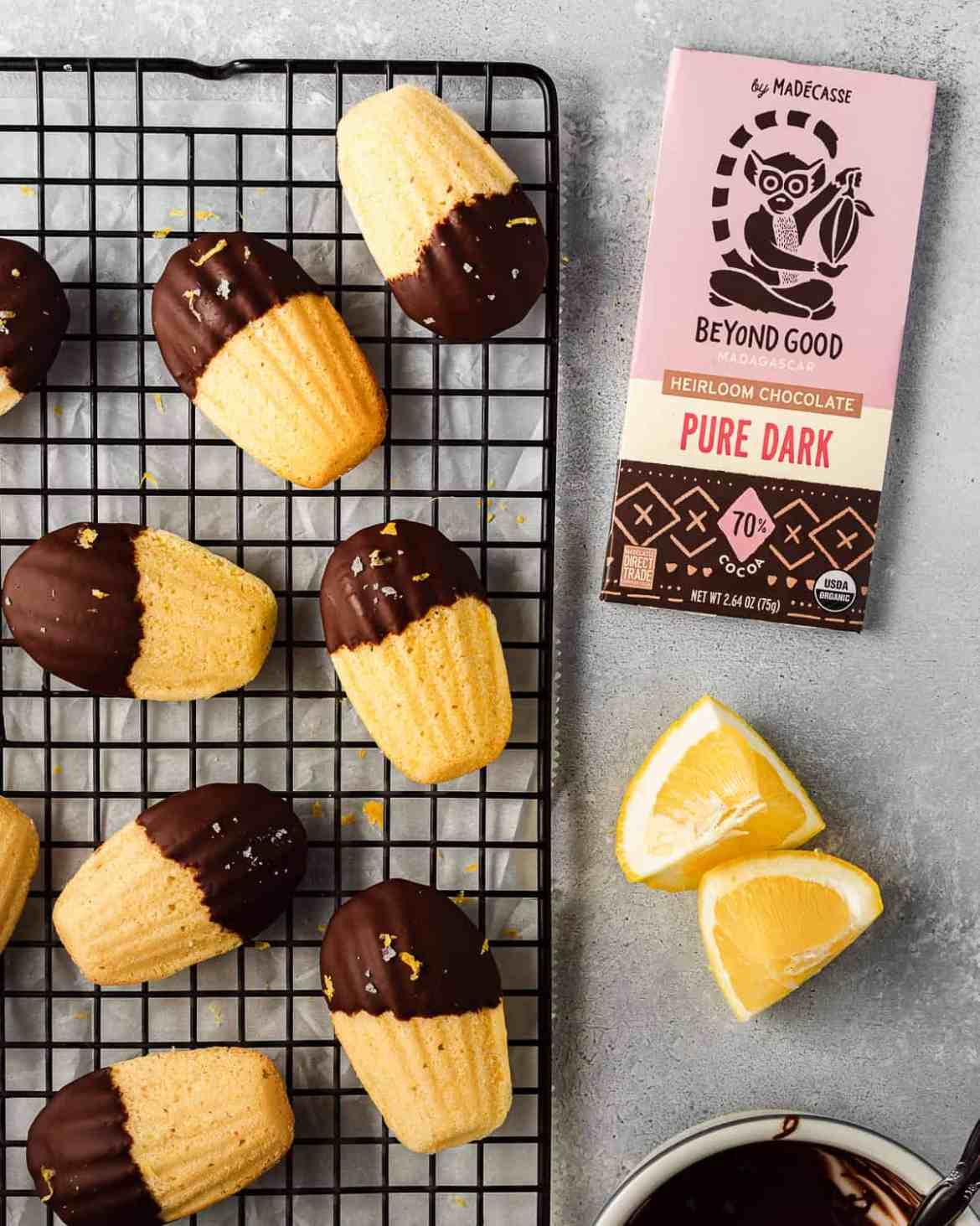 lemon madeleines dipped in darke chocolate