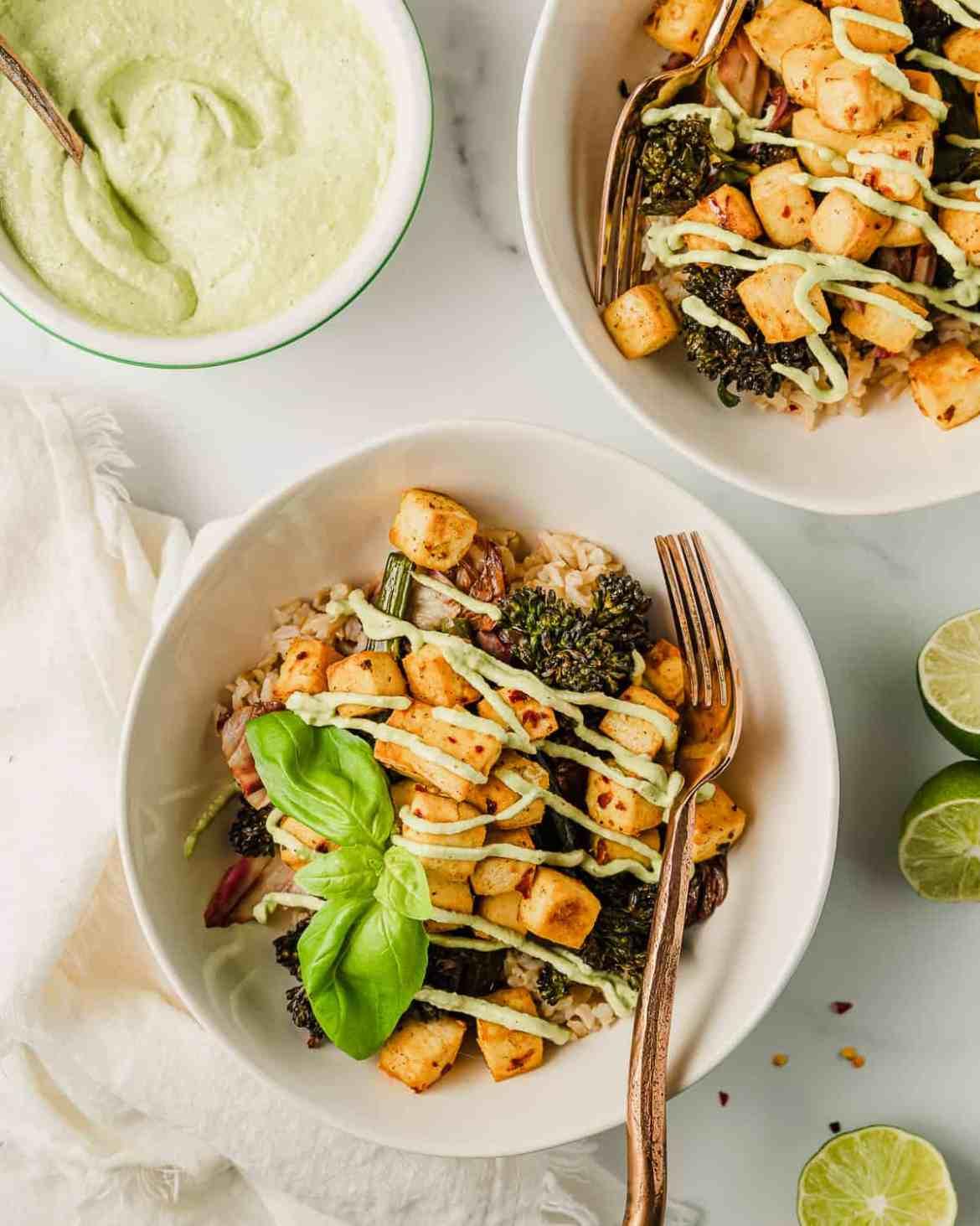 Crispy Tofu Bowl with Basil Sauce