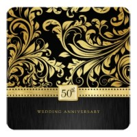 black and gold floral damask Wedding Anniversary Invitations