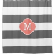 trendy shower curtains dark gray and white stripes with monogram