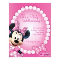 disney minnie mouse pink and white birthday party invites