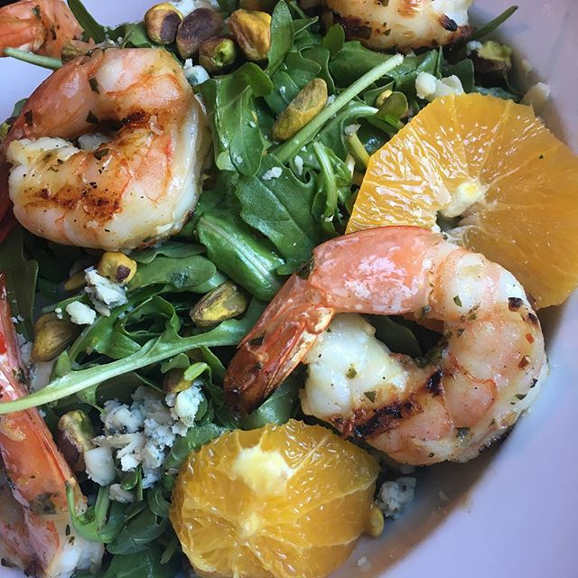 Shrimp on arugula with orange and pistachio. So much flavor and still hitting our goals! Getting through this holiday is tough but it can be done. We could teach you how. For individualized performance and nutrition coaching DM us or follow the link in our bio and Start Today! #eatmorebefit #salad #arugula #shrimp #orange #pistachio #easter #holiday #dinner #iifym #macros #flexibledieting #flexibleeating #nutrition #diet #exercise #workout #personaltrainer #ifpa #realfood #food #foodie #goodfood