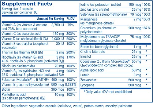 Supplement Facts for Pure Encapsulations N-Multivitamin