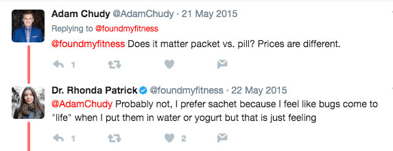 Image of tweet between Adam Chudy and Dr. Rhonda Patrick