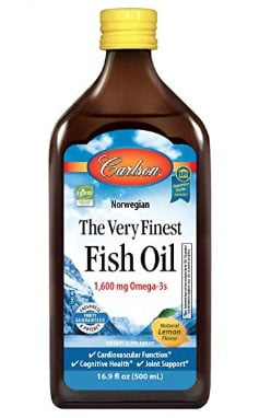 A photo of a bottle of Carlson Fish Oil.