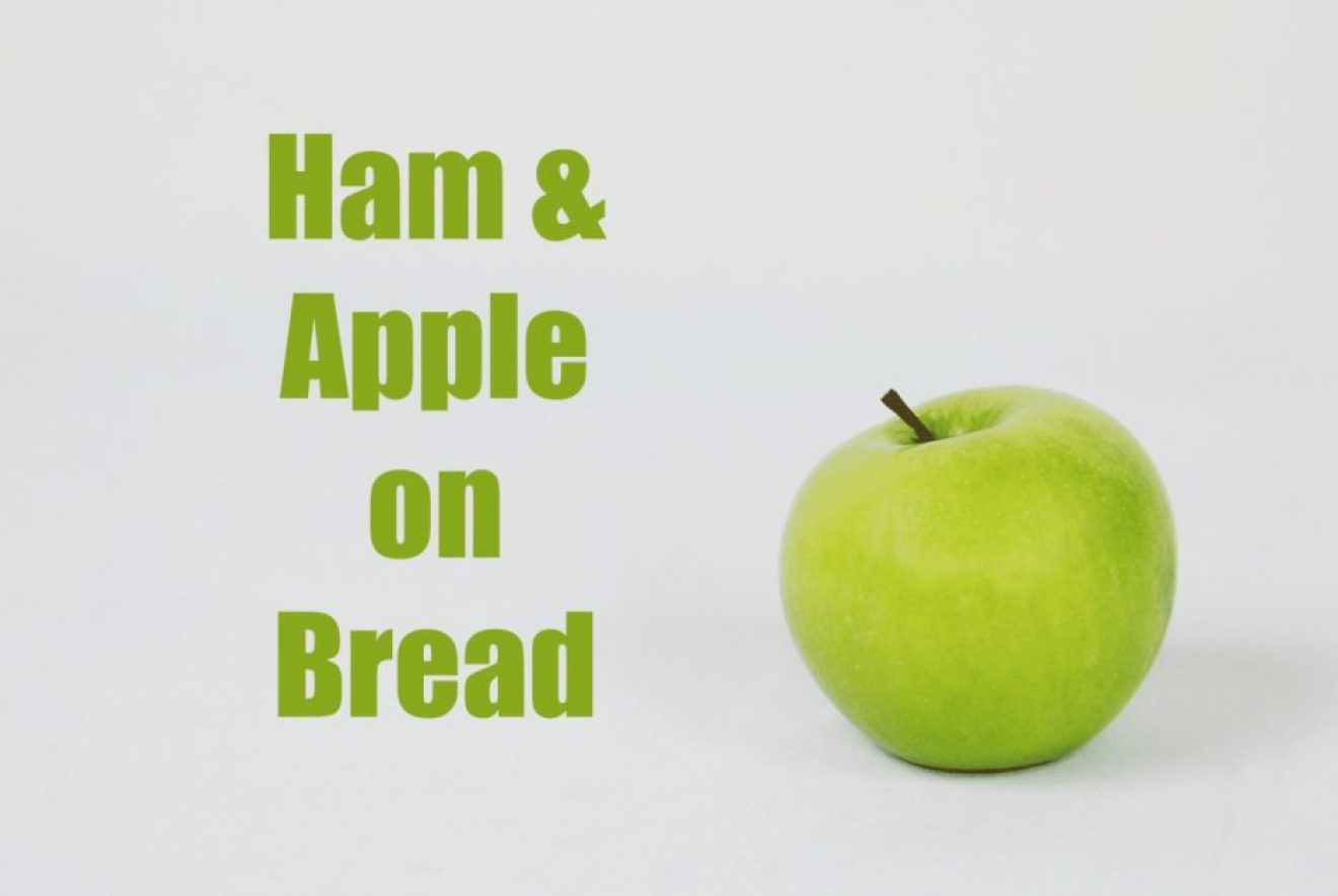 ham and apple on bread