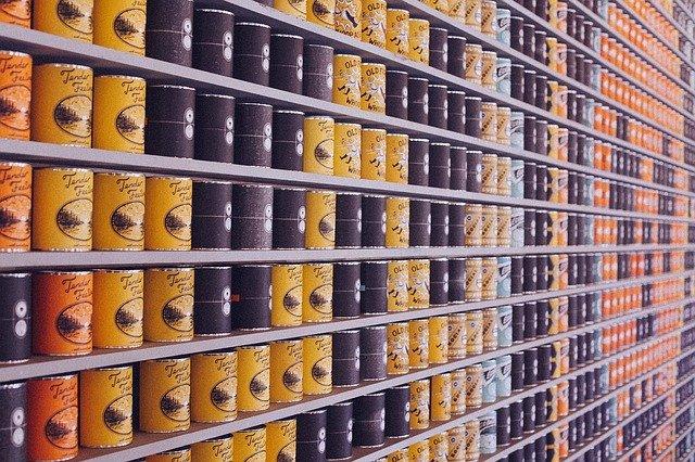 canned foods on shelf