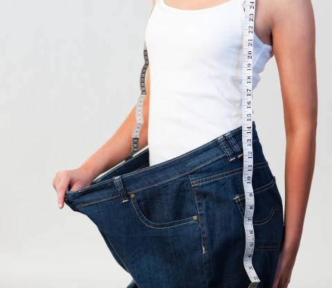 losing weight by trying on old clothes