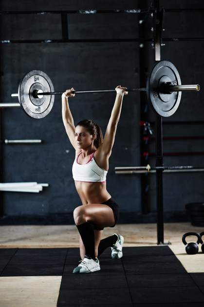 overhead lunge with barbell
