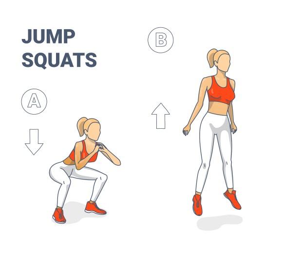 Girl Doing squat jumps illustration