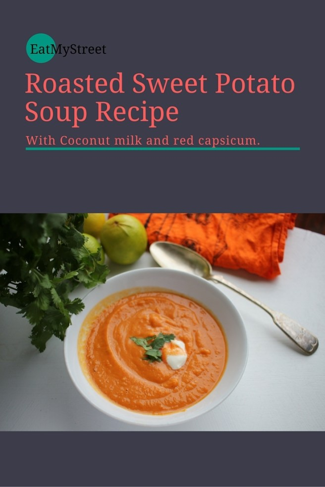 Roast sweet potato soup with coconut milk