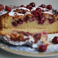 Almond cherry cake recipe. Easy to bake at home.