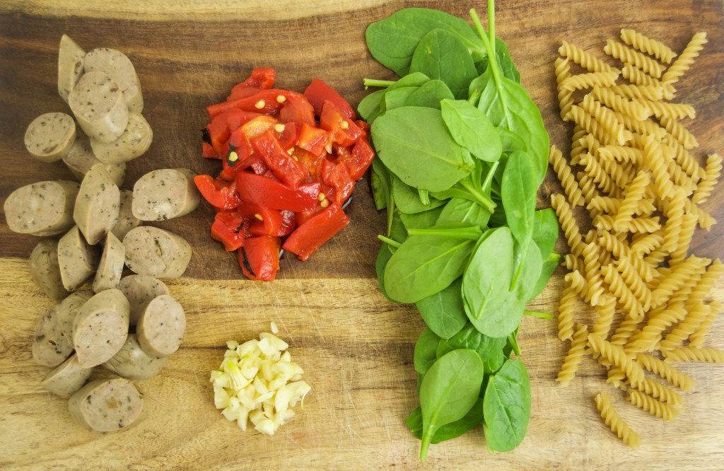 pasta ingredients on cutting board