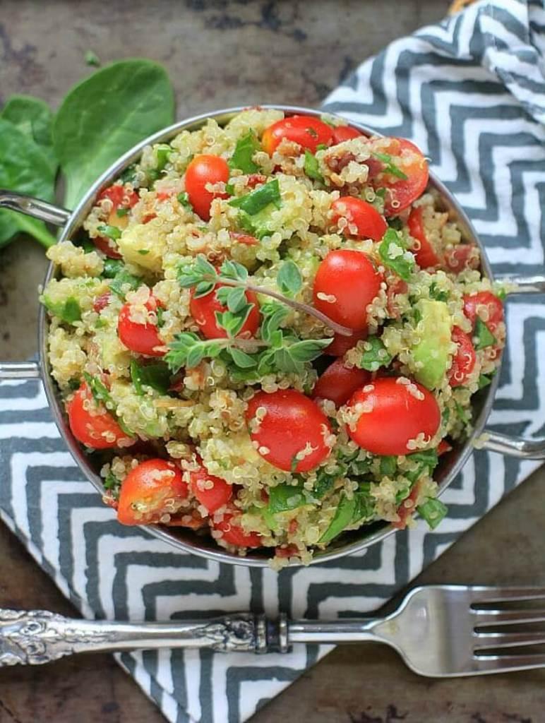 quick weeknight dinner blt and avocado quinoa salad