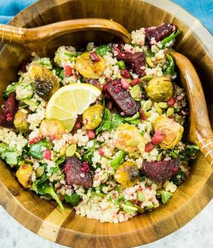 quick weeknight dinner quinoa brussel sprout beet salad