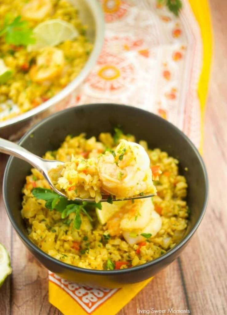 quick curried riced cauliflower with shrimp