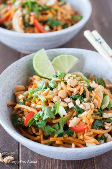 quick weeknight dinner thai chicken and sweet potato noodle bowl
