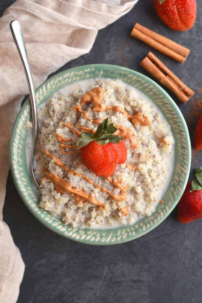 gluten free vegan breakfast cauliflower oatmeal