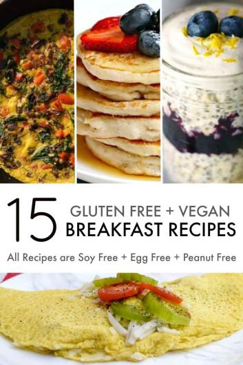 gluten free vegan breakfast recipes with text