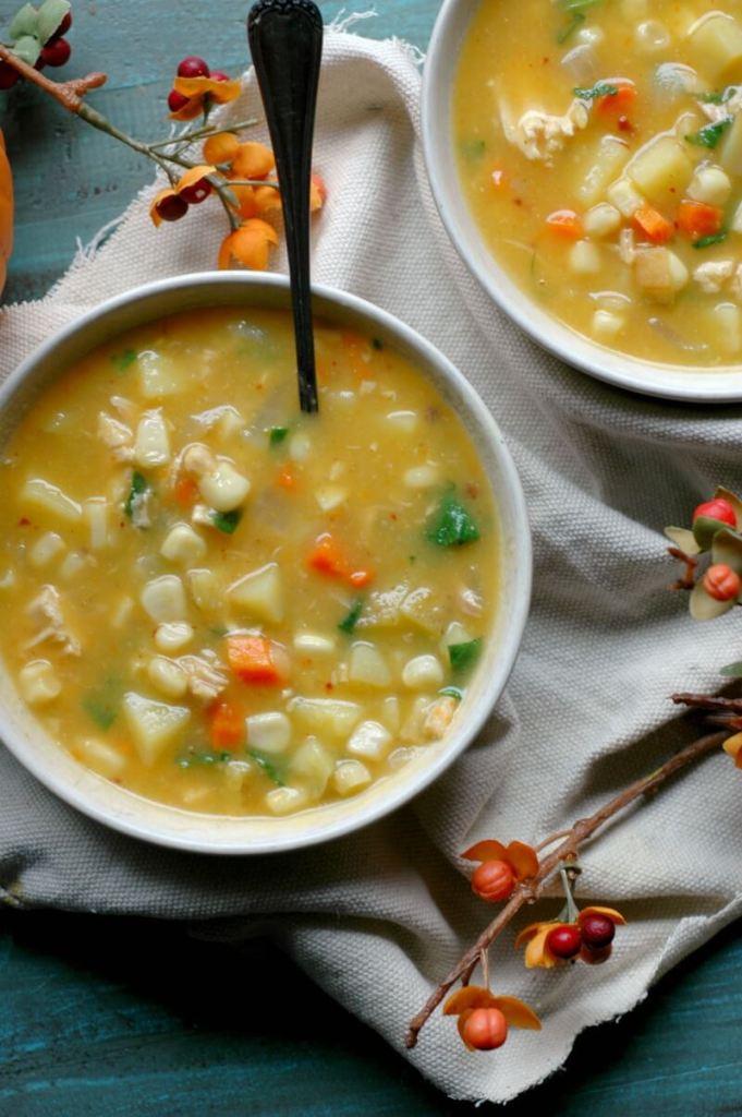 11 dairy free pumpkin recipes - smoky sweet chicken pumpkin corn chowder
