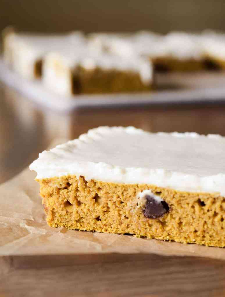 vegan pumpkin bars with cream cheese frosting