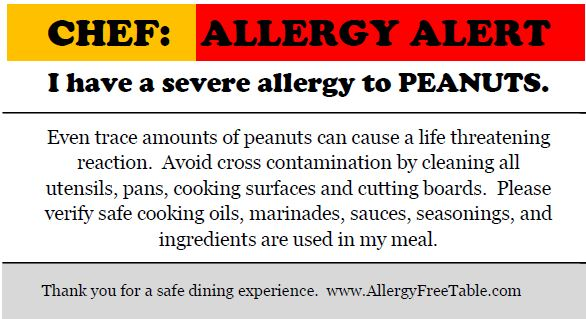 Life with Food Allergies and tips for restaurants