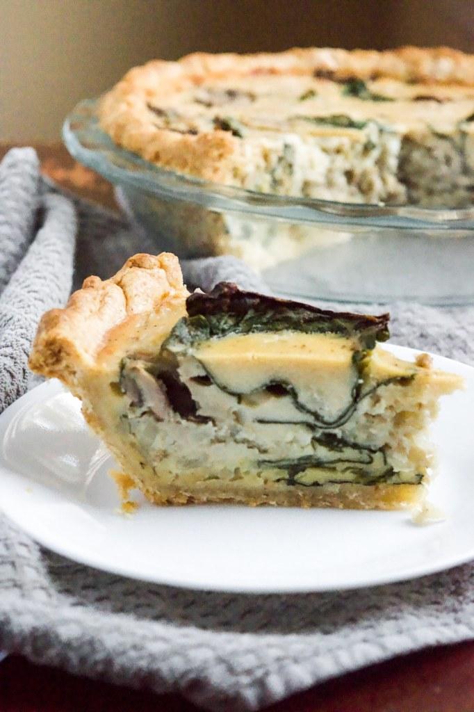 egg free vegan quiche with a gluten free pie crust