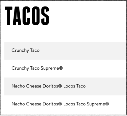 gluten free tacos at taco bell